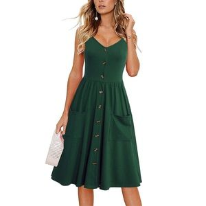 Dark Green Spaghetti Strap Button Down Midi Dress
